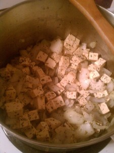Saute tofu, onions and spices