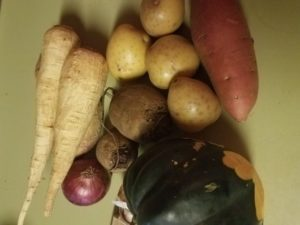 Squash and root vegetables