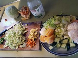 Chopped juice ingredients