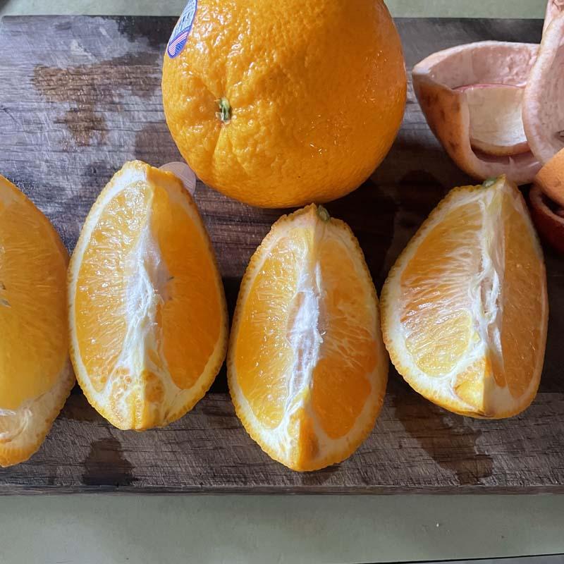 Oranges cut into quarters